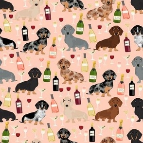 dachshund wine fabric wine and booze champagne bubbly fabric - peach
