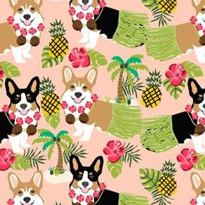 corgis hula fabric tricolored and red corgi fabric - peach