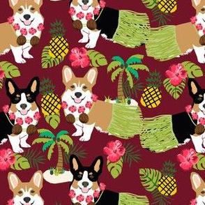 corgis hula fabric tricolored and red corgi fabric - ruby