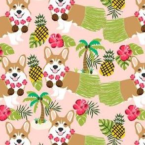 corgis hula fabric cute corgi fabric - peachy pink