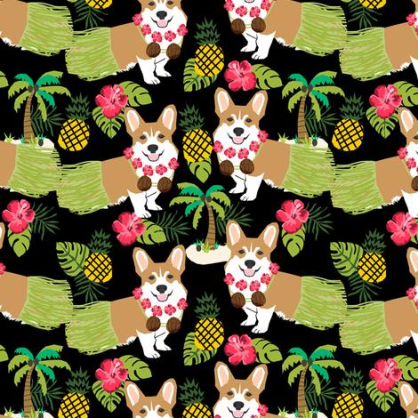 corgis hula fabric cute corgi fabric - black fabric by petfriendly on Spoonflower - custom fabric