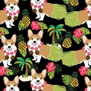corgis hula fabric cute corgi fabric - black