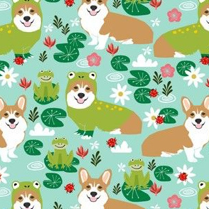 corgi frog costume fabric cute lily pad spring pond fabric - blue