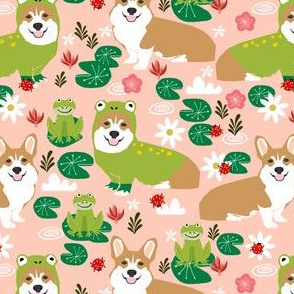 corgi frog costume fabric cute lily pad spring pond fabric - peach