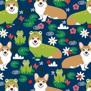 corgi frog costume fabric cute lily pad spring pond fabric - navy