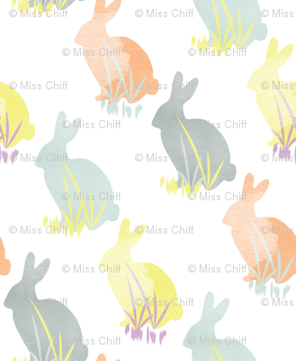 Bunny Rabbit Pastel Watercolor Easter _ Miss Chiff Designs