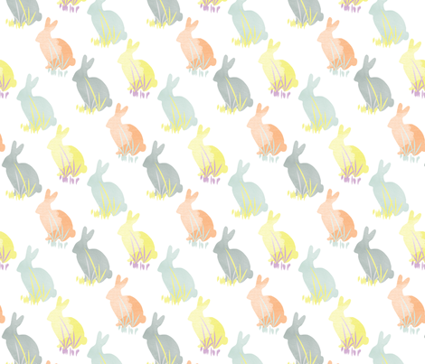 Bunny Rabbit Pastel Watercolor Easter _ Miss Chiff Designs  fabric by misschiffdesigns on Spoonflower - custom fabric