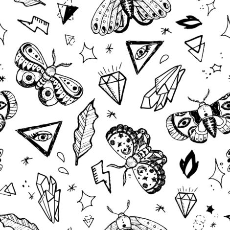 Black tattoo butterflies  fabric by yuliia_studzinska on Spoonflower - custom fabric