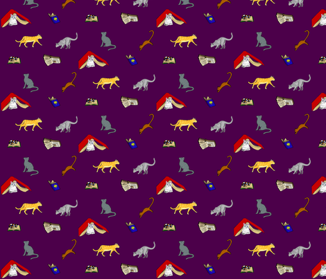 Cats & Books fabric by ronaldlett on Spoonflower - custom fabric