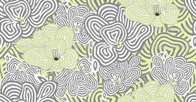 DIZZY BIZZY FLOWERS Green Grey White