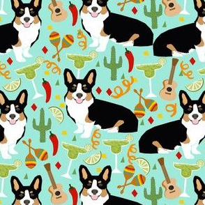 tricolored corgi fiesta fabric margarita party fabric - aqua