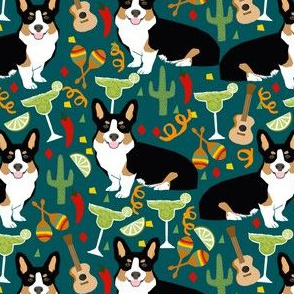 tricolored corgi fiesta fabric margarita party fabric - dark green