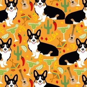 tricolored corgi fiesta fabric margarita party fabric - orange