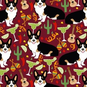 tricolored corgi fiesta fabric margarita party fabric - ruby