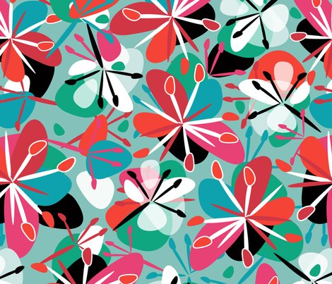 tissu fleuri vert rouge rose bleu wallpaper et dix spoonflower. Black Bedroom Furniture Sets. Home Design Ideas
