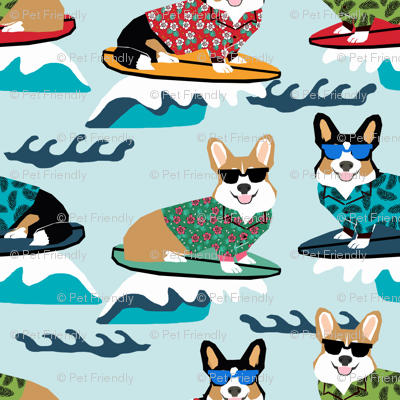corgi surfing fabric - small size fabric - blue