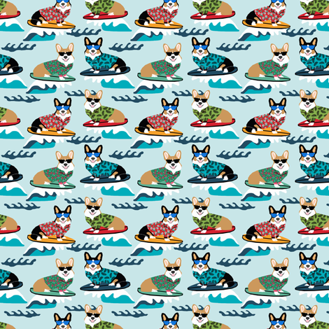 corgi surfing fabric - small size fabric - blue fabric by petfriendly on Spoonflower - custom fabric