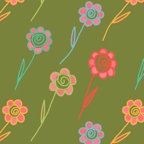 flying flowers - khaki surprise