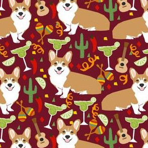 corgi fiesta fabric margarita party fabric - ruby