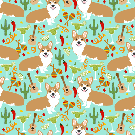 corgi fiesta fabric margarita party fabric - aqua fabric by petfriendly on Spoonflower - custom fabric