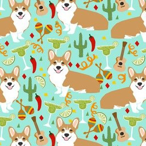 corgi fiesta fabric margarita party fabric - aqua