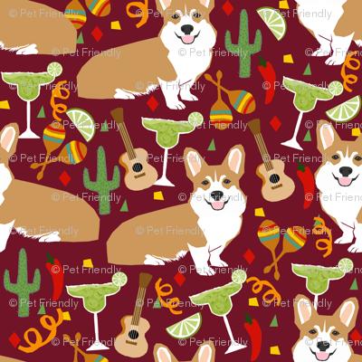corgi fiesta fabric margarita party fabric - ruby small size