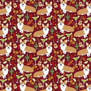 corgi fiesta fabric margarita party fabric - ruby small size