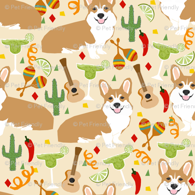 corgi fiesta fabric margarita party fabric - off-white