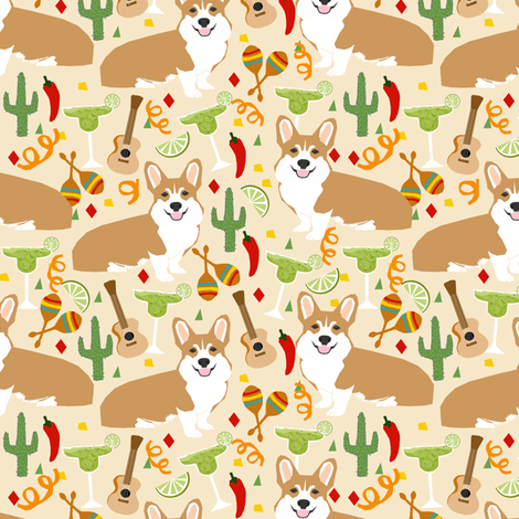 corgi fiesta fabric margarita party fabric - off-white fabric by petfriendly on Spoonflower - custom fabric