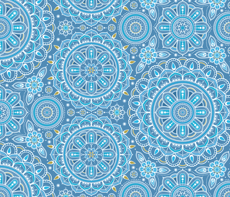 large Blue Mandalas fabric by woodmouse&bobbit on Spoonflower - custom fabric