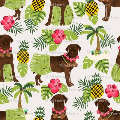 chocolate labrador fabric hula summer tropical design - off-white