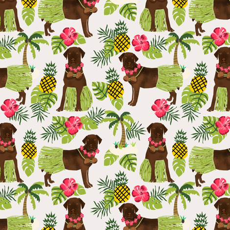 chocolate labrador fabric hula summer tropical design - off-white fabric by petfriendly on Spoonflower - custom fabric