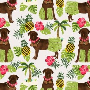 chocolate labrador fabric hula summer tropical design - off-white