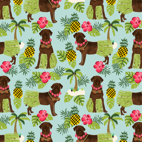 chocolate labrador fabric hula summer tropical design - light blue fabric by petfriendly on Spoonflower - custom fabric