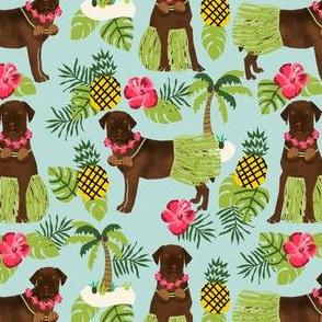 chocolate labrador fabric hula summer tropical design - light blue