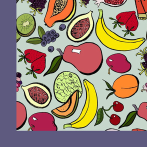 ink_fruit_green_background_tea_towel_design