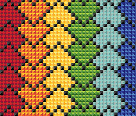 kaleidoscope_heart_rainbow_stripes_on_black fabric by stargazingseamstress on Spoonflower - custom fabric