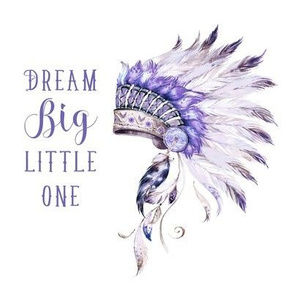 "8"" Purple Headdress / with Quote Dream Big Little One"