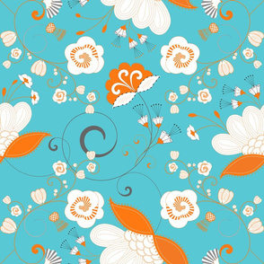 Flower Swirl - Orange White Grey on Blue