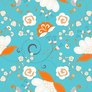 Flower Swirl - Orange White Grey on Blue