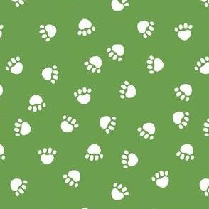 dog paws fabric, dog paws christmas coordinates - asparagus green