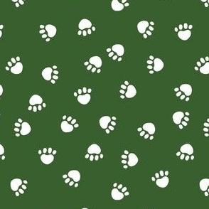 dog paws fabric, dog paws christmas coordinates - dark green