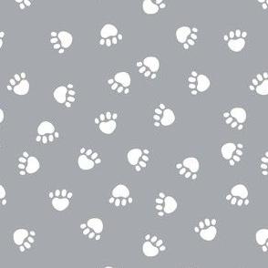 dog paws fabric, dog paws christmas coordinates - grey
