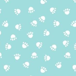 dog paws fabric, dog paws christmas coordinates - light blue