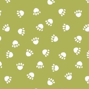 dog paws fabric, dog paws christmas coordinates - lime green