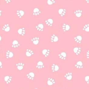 dog paws fabric, dog paws christmas coordinates - pink