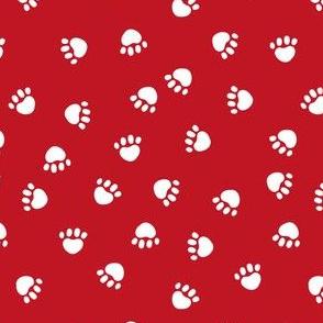 dog paws fabric, dog paws christmas coordinates -red