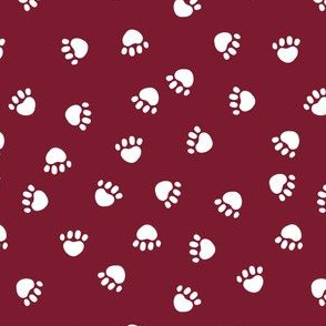 dog paws fabric, dog paws christmas coordinates - ruby  red