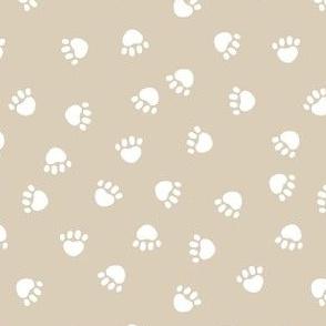 dog paws fabric, dog paws christmas coordinates - sand