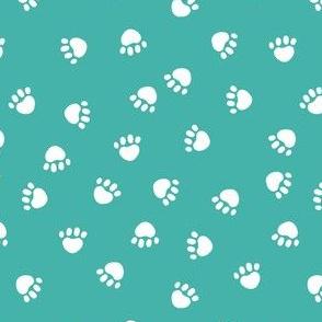dog paws fabric, dog paws christmas coordinates - turquoise